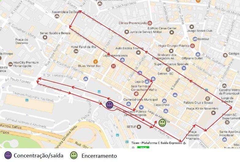 marcha mulheres 2 agosto trajeto