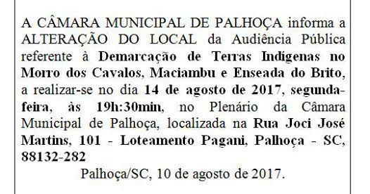 Caciques e lideranças Guarani repudiam audiência pública em Palhoça
