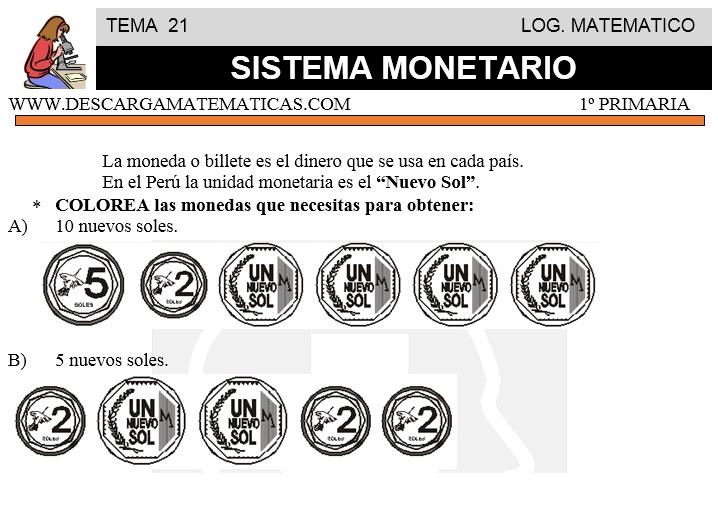 DESCARGAR SISTEMA MONETARIO \u2013 MATEMATICA PRIMERO DE PRIMARIA