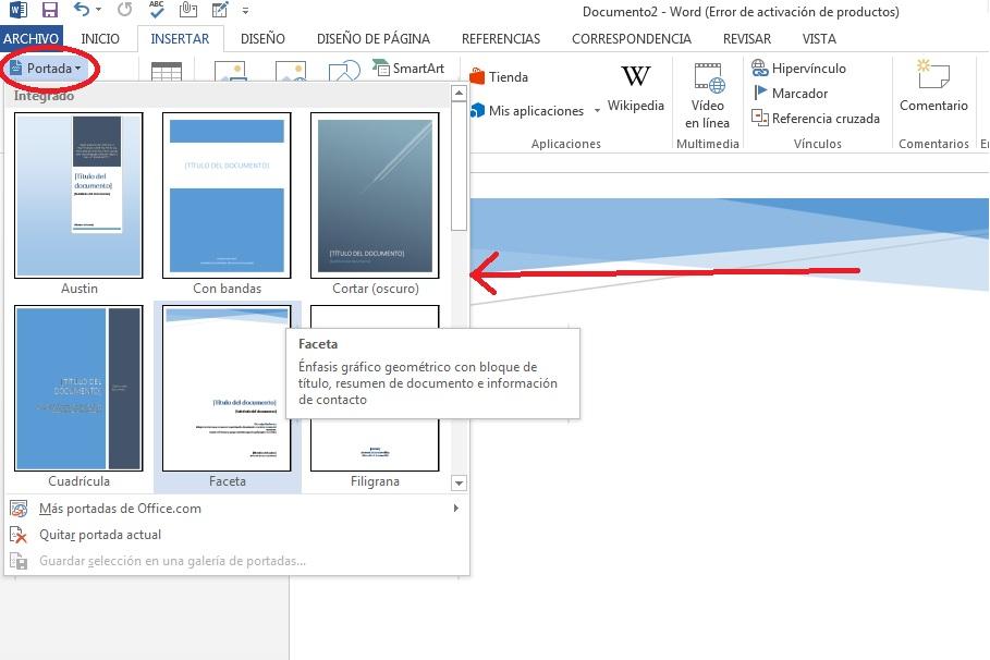 Añadir portadas en documentos de Microsoft Word
