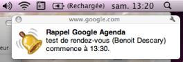 google agenda notification Google Agenda: Rappels discrets [Google Chrome]