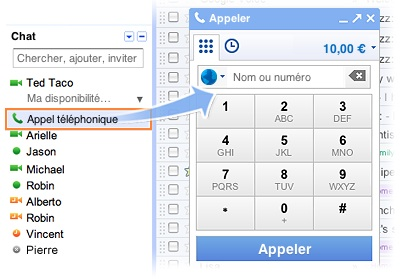 callphones La VOIP sur la version franaise de Gmail