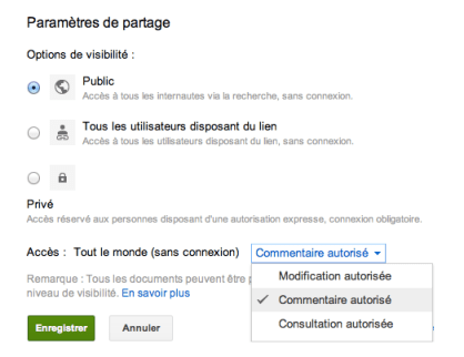 google documents commentaire autorise Google Documents : partagez vos documents en autorisant uniquement les commentaires
