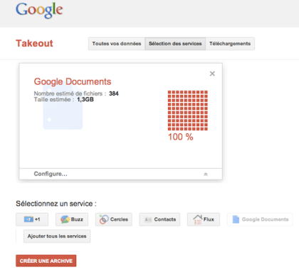 google takeout Google Documents: exportez vos documents en utilisant Takeout