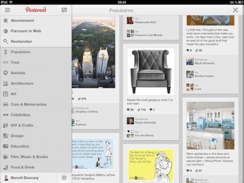 pinterest ipad android Pinterest dvoile ses applications iPad et Android