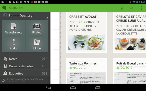 evernote android descary Nexus 7 : 15 applications de productivité pour votre tablette