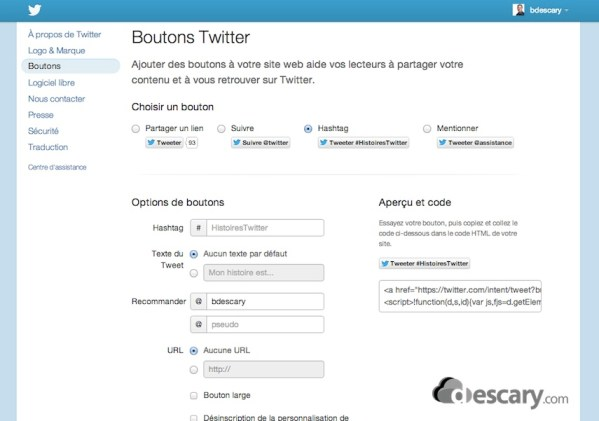 boutons twitter descary Twitter: utilisez les boutons et les widgets de Twitter pour booster vos vnements