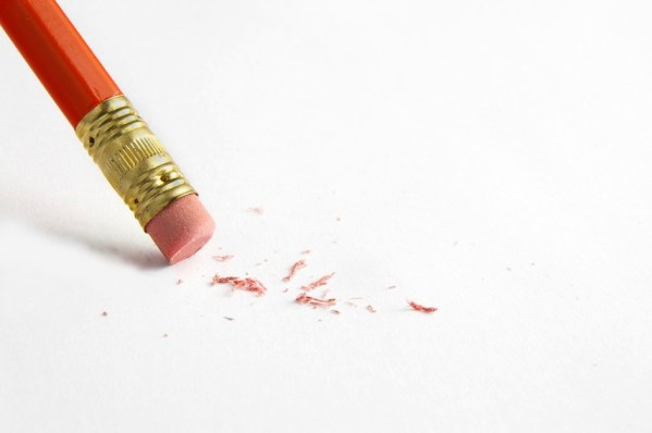 Pencil erasing a mistake