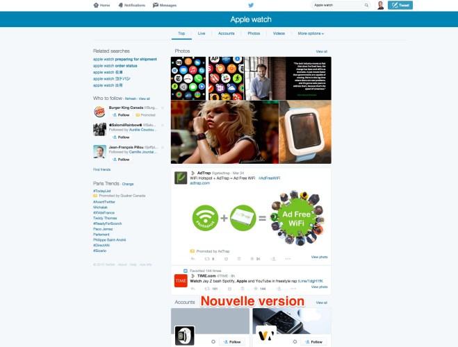 Twitter nouvelle version du moteur de recherche