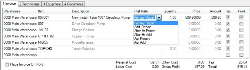 How Do I Select a Flat Rate Price on an Invoice? \u2013 dESCO Support