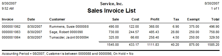 Sales Invoice List Report \u2013 ESC