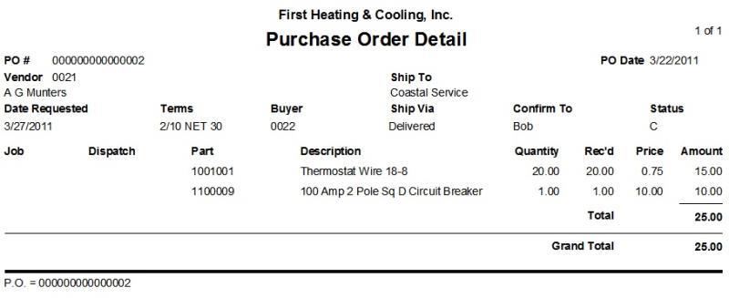 Purchase Order Detail Report \u2013 ESC