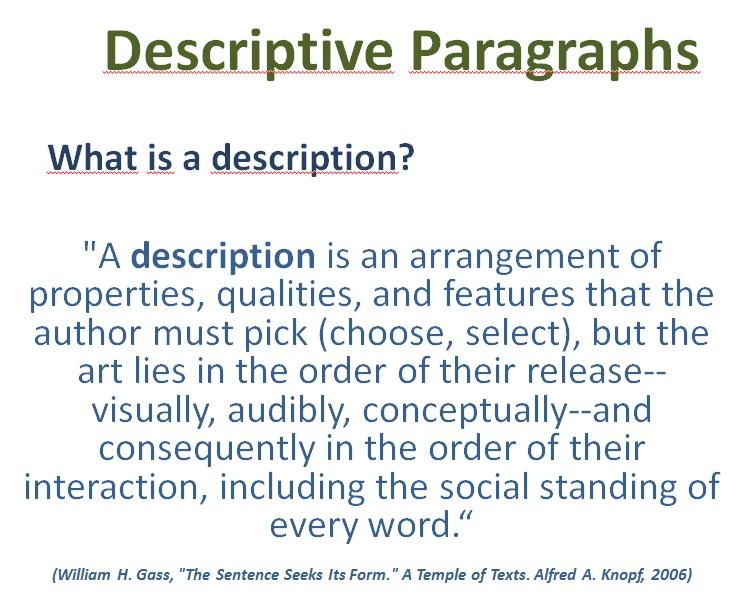 Activity 1descriptive Paragraph Describing Worlds