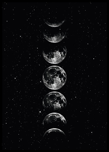 Cadre Photo 21x30 Moon Phase Grey, Affiche