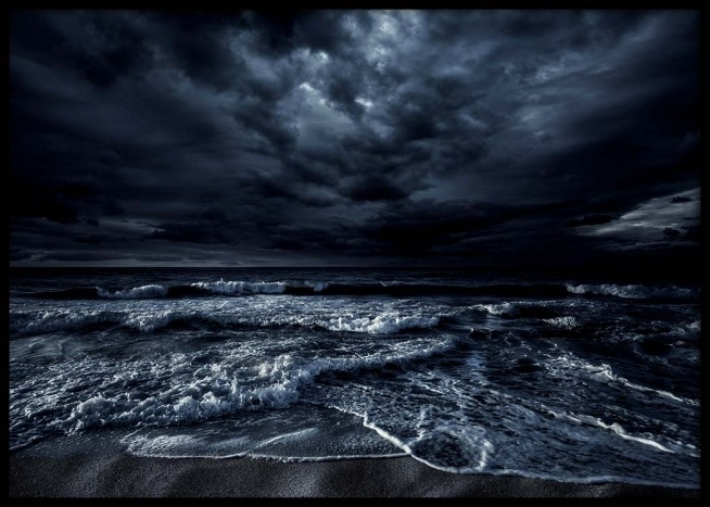 Night Sky 3d Wallpaper Stormy Ocean Poster