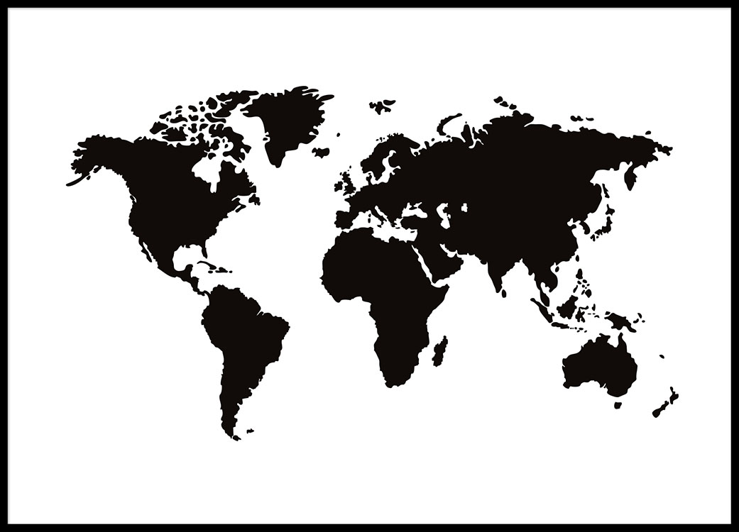World map poster black and white Prints and posters with maps - Black And Grey World Map
