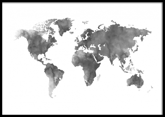 Poster of grey world map painted in acrylic, from Desenio - Black And Grey World Map