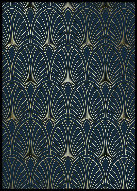 Black And Gold Wallpaper Art Deco Four Print