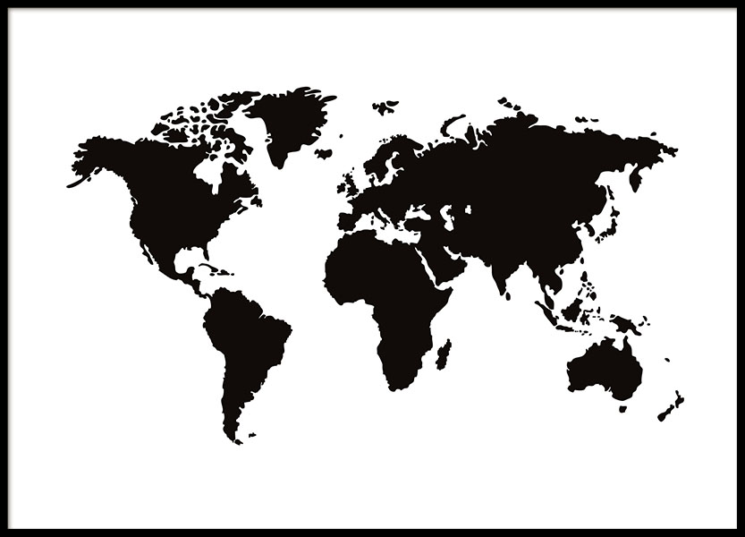 World map poster black and white Posters with maps - Black And Grey World Map