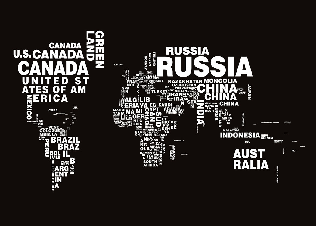Black and white typography world map Graphic designs