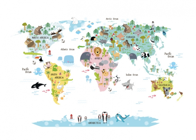 Plakat Design Inspiration Kids' Poster With World Map With Animals. Nice Posters For