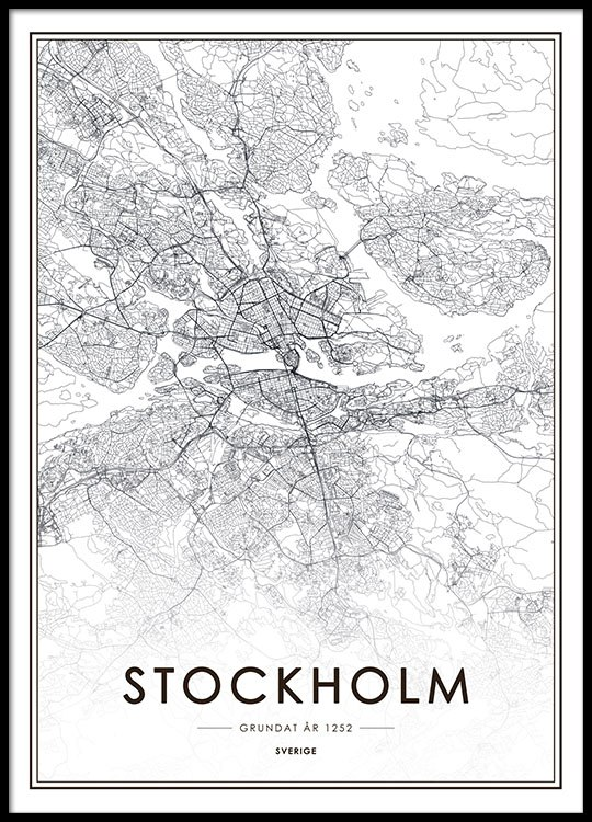 Bilder Print Poster With Stockholm Map | Black And White Prints