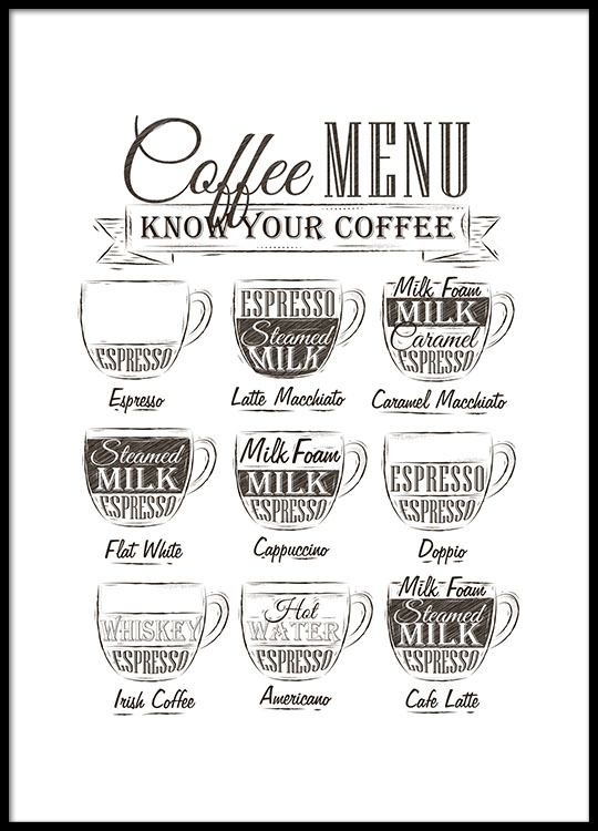 Kitchen art with a coffee menu Posters for the kitchen