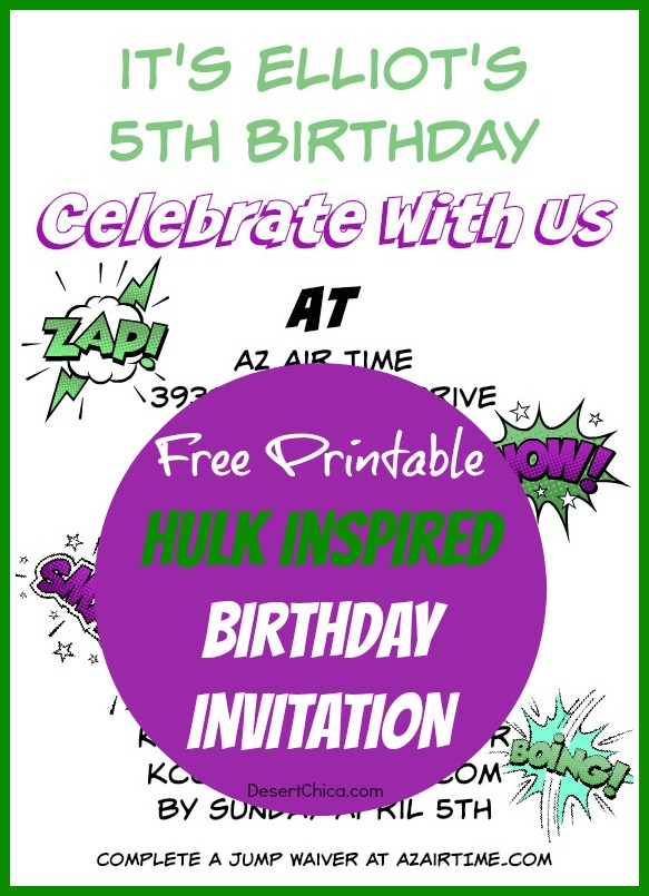 Hulk Birthday Invitations Free Printable Template Desert Chica
