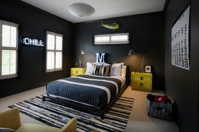 deco-chambre-ado-garcon-idee-gris-jaune-noir-tapis-de-sol - Des idées