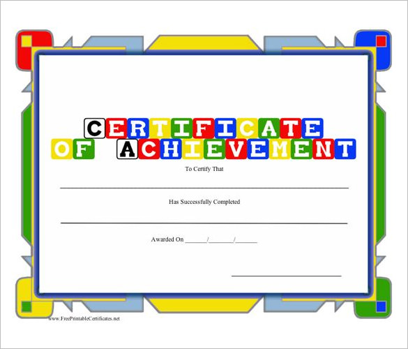 free printable achievement certificates