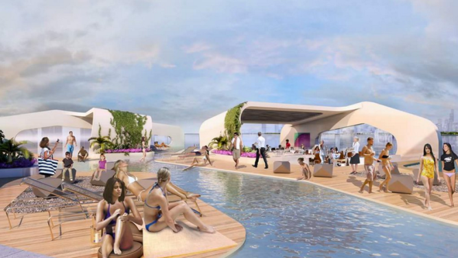 The floating vessel would feature swimming pools, outdoor decks, stores and bars. Image via Breakwater Chicago