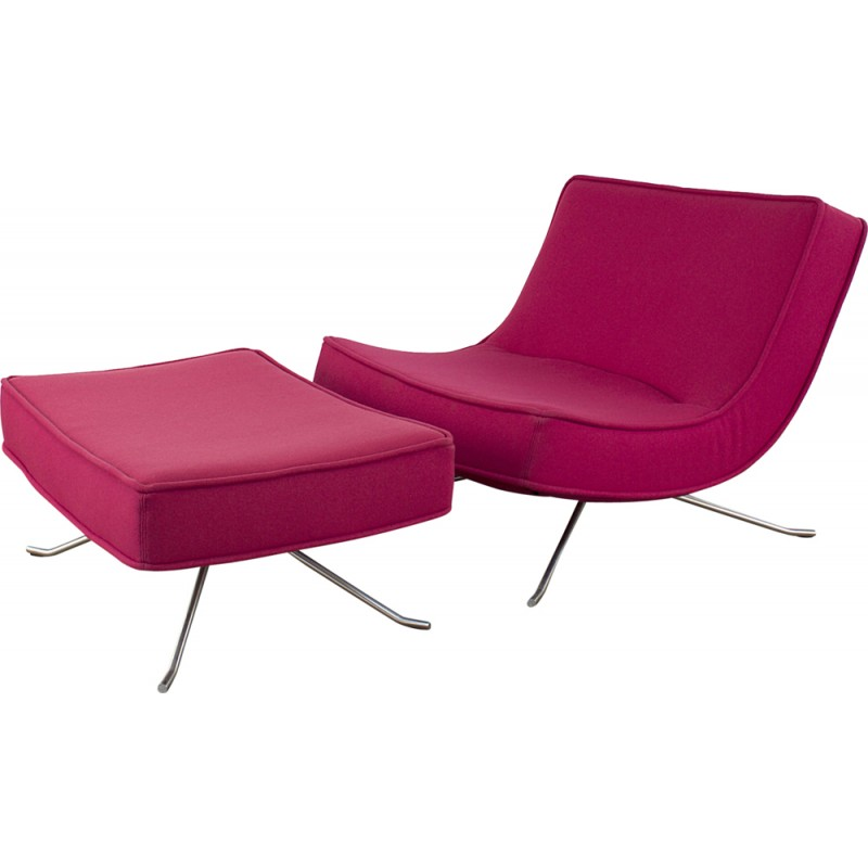 Pink Ligne Roset Pop Lounge Chair With Ottoman In Fabric - Ligne Roset Fauteuils