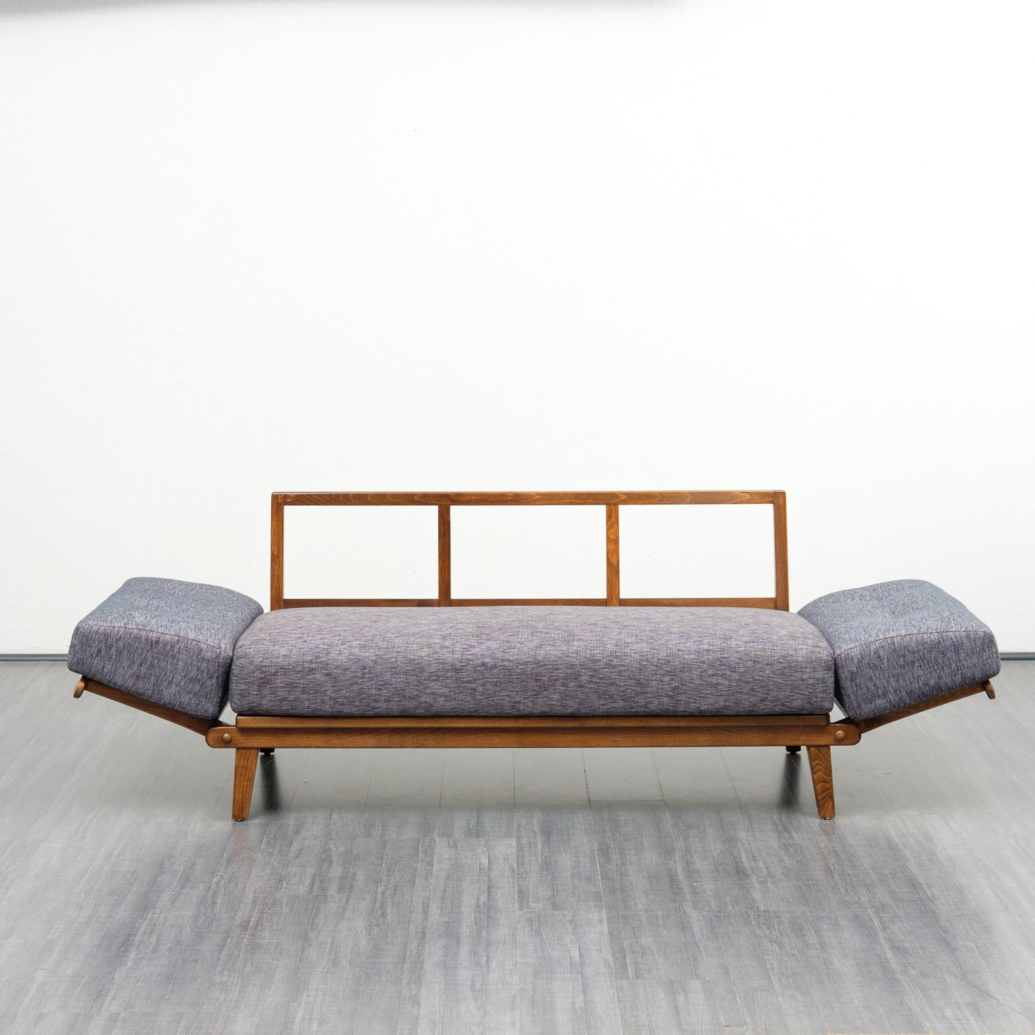 Petite Banquette Design Vintage Small Stained Beech Frame Daybed Sofa 1950s