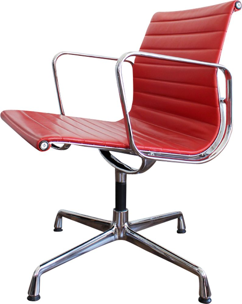 Vitra Chair Poster Vintage Office Chair Ea 108 In Red Leather By Eames For