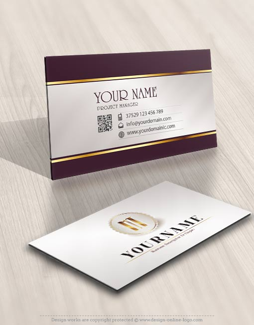 Exclusive Design Initial stamp Logo + Compatible FREE Business Card - on line business cards