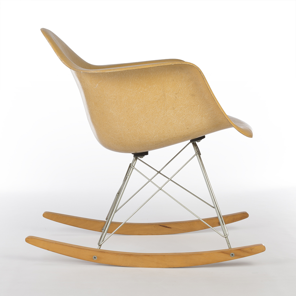 Eames Rar Ochre Dark Yellow 1960s Herman Miller Eames Rar Rocking Arm Chairs