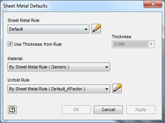Autodesk Inventor Sheet Metal Defaults