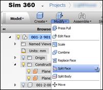 Autodesk Sim 360 Edit Design Split Face