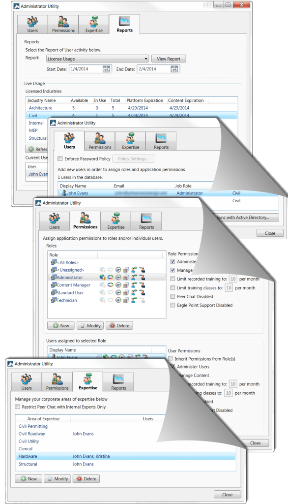 Pinnacle Series' Administration Dialogs