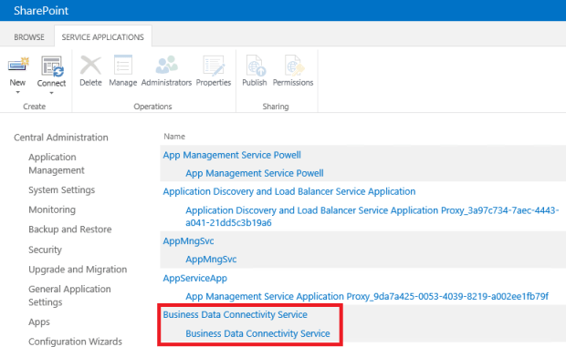 SharePoint Business Data Connectivity Service