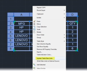 AutoCAD Table - Update Data Links