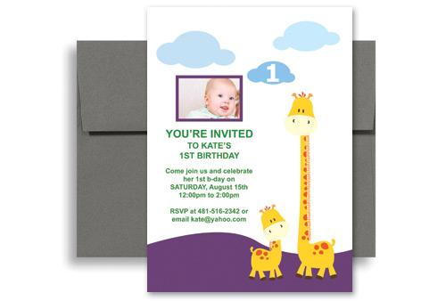 Giraffe Themed Photo Card Birthday Invitation Design 5x7 in