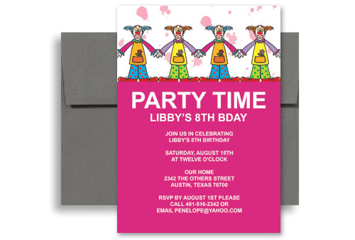 Children Clowns Party Birthday Invitation Examples 5x7 in Vertical