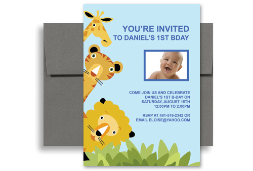 Animal Zoo Party 1st Birthday Invitation Samples 5x7 in Vertical - birthday invite templates free to download