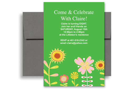 Flower Drawing Eight Year Old Birthday Invitation Samples 5x7 in