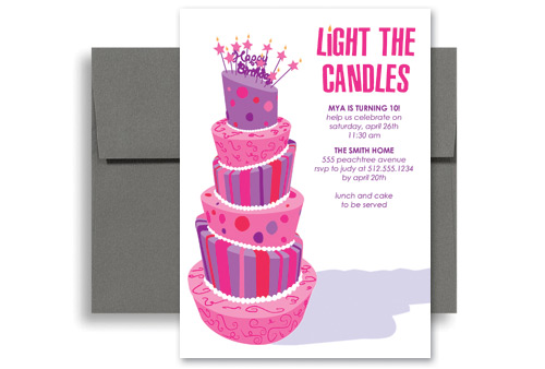 Purple Girls Party Birthday Invitation Samples 5x7 in Vertical - downloadable birthday invitations templates free
