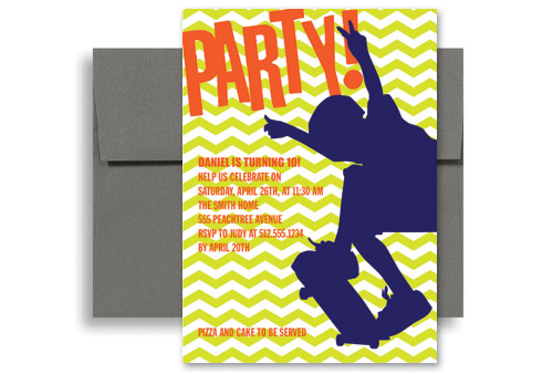 Skateboard Party Birthday Invitation Wording 5x7 in Vertical KID