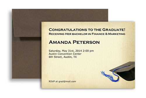 2018 Formal College Blank Graduation Announcement 7x5 in Horizontal