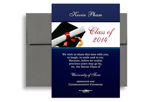 2018 Cap Gown Background Graduation Invite 5x7 in Vertical GI