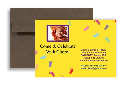 Baby Footprint Printable Microsoft Word Birthday Invitation 7x5 in